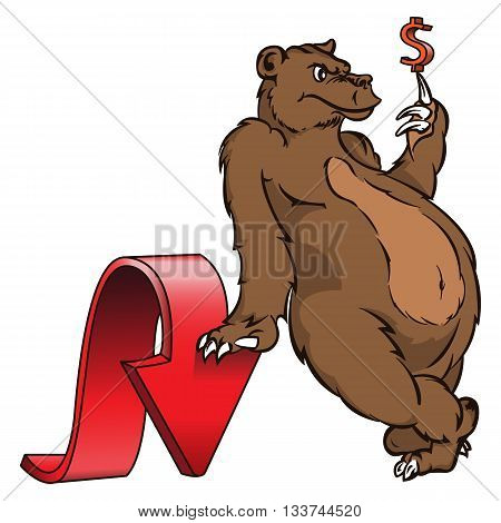 Abstract business stock exchange illustration. The bear downward trend for foreign exchange or stock market