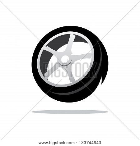 Black Tire tread Isolated on a White Background