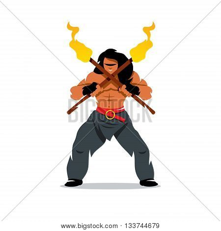 Barbarian Warrior holding crossed torches. Isolated on a white background