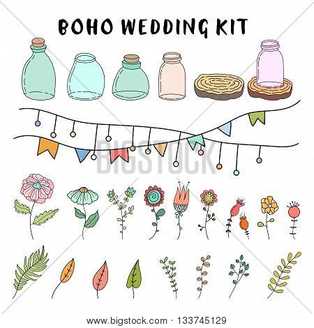 Hand drawn vector illustration with jars, flowers and plants. boho wedding kit.