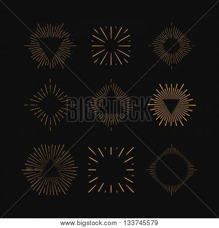 Retro Sun burst shapes. Vintage starburst logo labels badges. Sunburst minimal logo frames. Vector firework design elements isolated. Sun burst light logo. Minimal vintage gold firework burst.