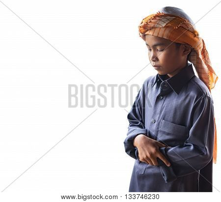 muslim child worshiped praying for Allah muslim God isolated on white background