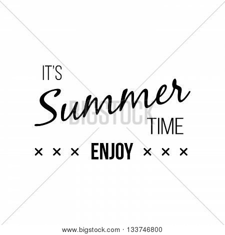 Vector Enjoy Summer Quote. Hello Summer Vector Illustration. Vector Hand Lett...