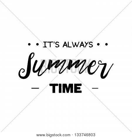 Vector Enjoy Summer Quote. Hello Summer Vector Illustration. Vector Hand Lettering Inspirational Typ