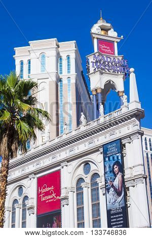 LAS VEGAS - MAY 21 : Exterior of the Madame Tussauds museum in Las Vegas on May 21 2016 The two-floor 30000-square-foot museum has 100-plus wax replicas.