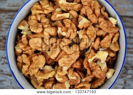 Walnuts Kernel On Blue Vintage Table Village Fall Harvest 1