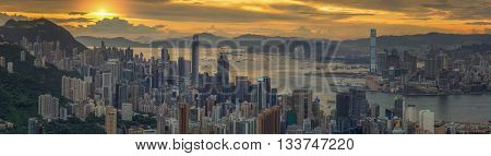 Sunrise over Hong kong and Kowloon city