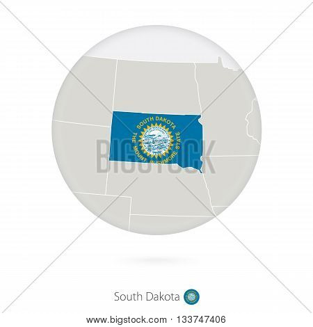 Map Of South Dakota State And Flag In A Circle.