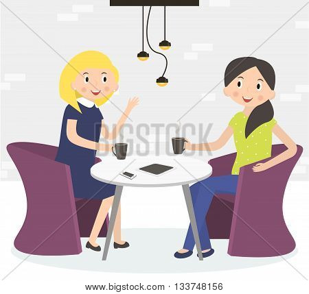 Two cute friends women drinking coffee. Woman sitting at a cafe on coffee break. Vector illustration