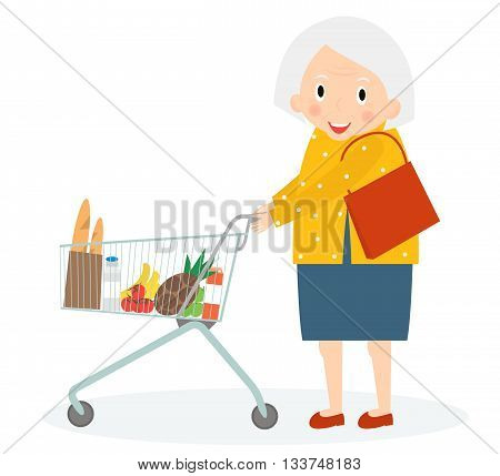 Grandmother is Shopping. Old woman leisure time. Grandma in supermarket with trolley. Cute senior woman on shopping. Vector illustration.