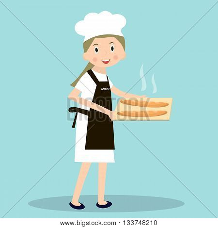 Cooking bread miller chef. Professions miller. Baker with hot baguettes. Vector illustration