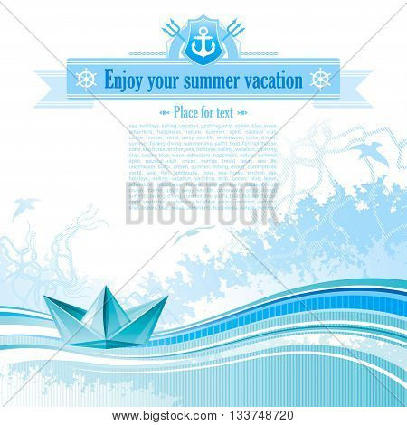 Sea travel background design in blue colors with net, foam, wave and seagulls and paper boat icon.