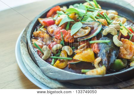 Sweet And Sour Sauce Fried Sea Food With Cashew Nut