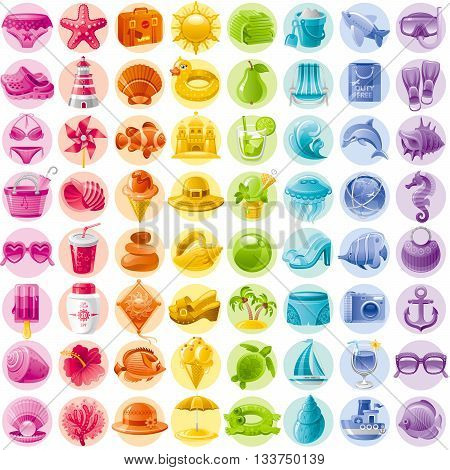 Sea travel icon set contains yacht, bikini, tropical island with palms, wave, ice cream, sun protection cream, ball, hibiscus flower, sea horse, fishes, beach umbrella, sea turtle, diving mask, chair