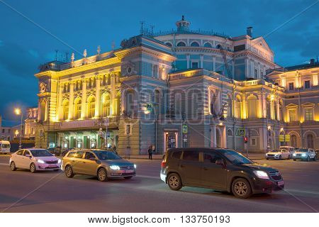 SAINT PETERSBURG, RUSSIA - APRIL 23, 2016: The facade of the Mariinsky theatre, late april evening. Historical landmark of the city Saint Petersburg