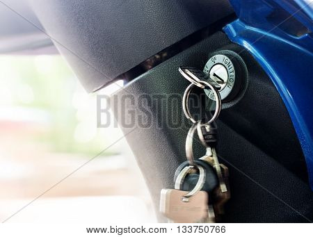 Close up shot of a motorcycle key hole, ignition switch