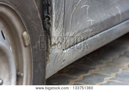 Dirty Car With Muddy