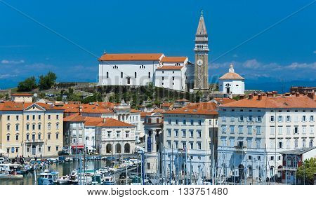 Piran - circa May of 2015, Slovenia: Old Church on the hill in the city of Piran (Parish Church of Saint George's)