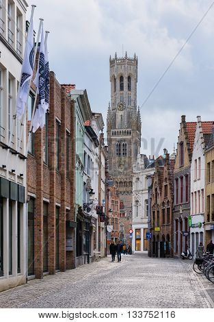 Bruges - circa February of 2016, Belgium: Belfry of Bruges in historic center of the city