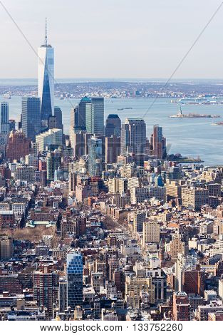 New York - April of 2015, USA: View of Manhattan and One World Trade Center