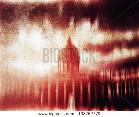 Horizontal red cyberpunk capitol vintage abstraction background