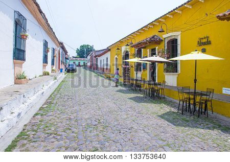 SUCHITOTO EL SALVADOR - MAY 07 : Street view of Suchitoto El Salvador on May 07 2016. the colonial town of Suchitoto built by the Spaniards in the 18th century