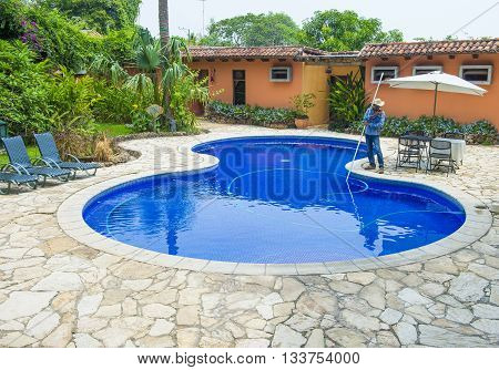 SUCHITOTO EL SALVADOR - MAY 07 : A swimming pool in Suchitoto El Salvador on May 07 2016. the colonial town of Suchitoto built by the Spaniards in the 18th century