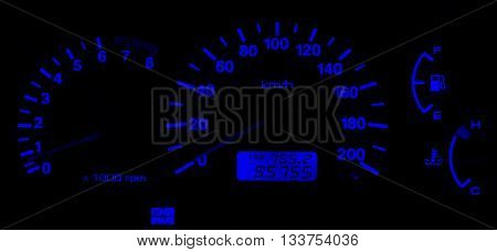 Horizontal isolated blue car speedometer no fuel panel background backdrop