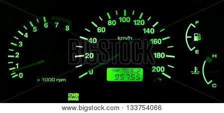 Horizontal isolated green car speedometer no fuel panel background backdrop