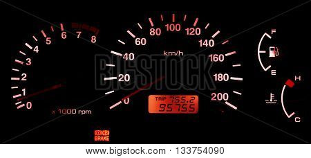 Horizontal isolated red car speedometer no fuel panel background backdrop