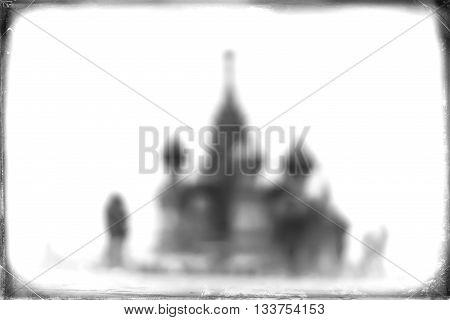 Horizontal Saint Basil's Cathedral vintage postcard background