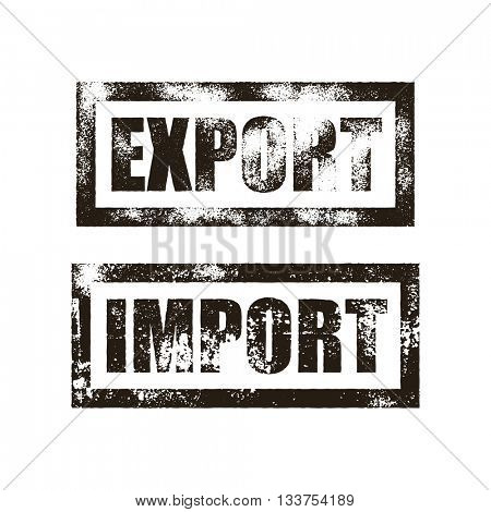 Import stamp of black grunge square vintage rubber print. Export stamp. Black ink vector cargo post product imprint.