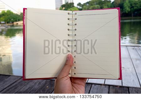 Hand hold opened white blank book with pink cover in the park and road in background