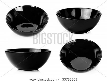 Black Bowl Isolated On A White Background