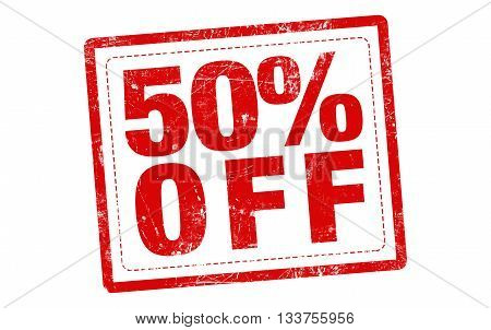 50% off red stamp text on white background