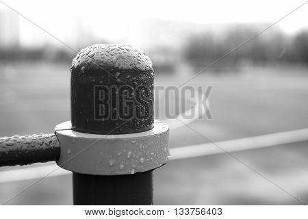 Black and white left aligned column bokeh background