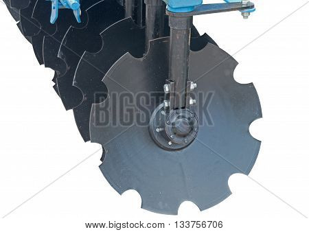 agricultural equipment for fields on white background