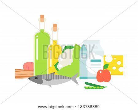 Fresh vegetables healthy food fruit set on white background. Healthy food fresh, diet milk products and fish meat healthy food. Organic health vegetarian nutrition dieting cooking.