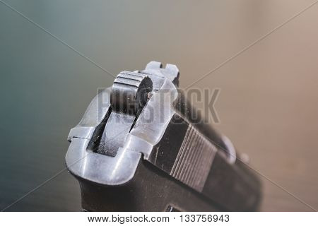army black weapon at close range. gun