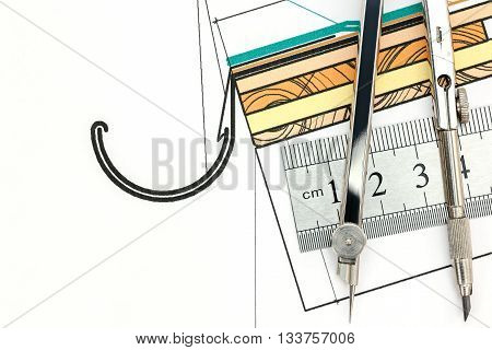 Drawing Compass And Ruler Over Color Technical Drawing