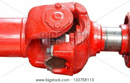 Red color cardan drive isolated on white
