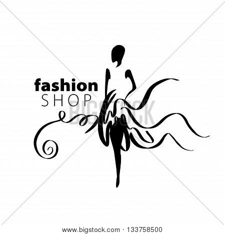 vector logo for womens fashion. Illustration of girl