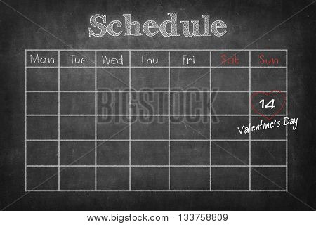 Schedule on black board background for appointment concept