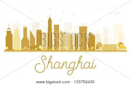 Shanghai City skyline golden silhouette. Simple flat concept for tourism presentation, banner, placard or web site. Shanghai isolated on white background