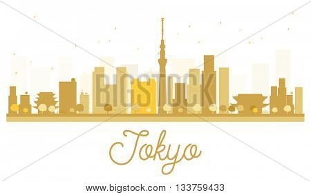 Tokyo City skyline golden silhouette. Simple flat concept for tourism presentation, banner, placard or web site. Tokyo isolated on white background