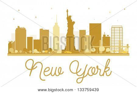 New York City skyline golden silhouette. Simple flat concept for tourism presentation, banner, placard or web site. New York  isolated on white background