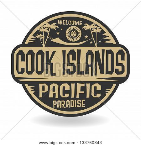 Stamp or label with the name of Cook Islands, Pacific Paradise, vector illustration
