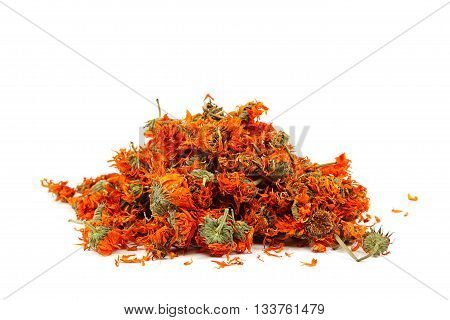 Herbs. Dried calendula or pot marigold flowers isolated on white background.