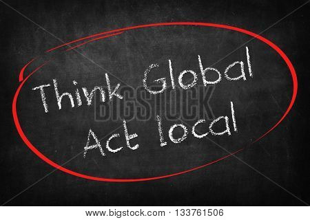 Think global act local words on Blackboard