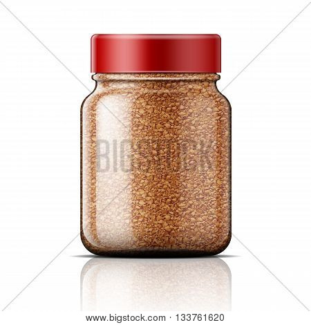 Transparent glass jar with instant coffee. Vector illustration. Packaging collection.